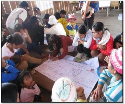 新しい教室のデザインについて話し合う児童、教師、保護者たち